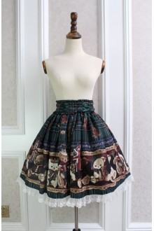 Green Sweet Teddy Bear Printing Lace Flouncing Lolita Skirt