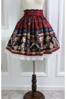 Wine Sweet Teddy Bear Printing Lace Flouncing Lolita Skirt