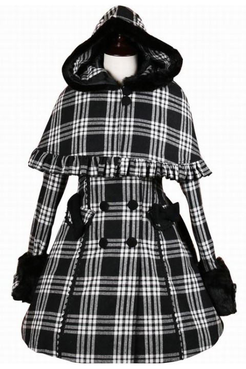 7de487ff78018 Cheap Sweet Black and White Plaid Hooded Double-breasted Lolita Coat -  Fashion Lolita Dresses & Clothing Shop