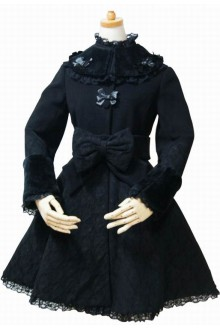 Black Vintage Darkstripe Bow Knot Slim Lolita Coat