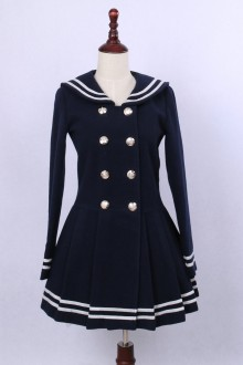 Dark Blue Navy Collar Double-breasted College Style Woolen Lolita Coat