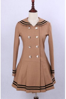 Camel Navy Collar Double-breasted College Style Woolen Lolita Coat