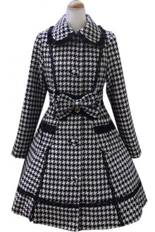 Houndstooth Lace Slim Lapel Woolen Lolita Coat