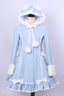 Sky Blue Sweet Lace Hooded Slim Bow Knot Woolen Lolita Coat