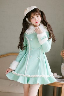 Sweet Princess Lace Stitching Slim Double Breasted Lolita Coat