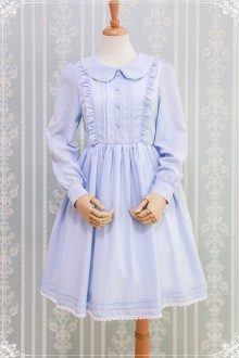Light Blue Sweet Princess Chiffon Round Collar Puff Sleeves Sweet Lolita OP Dress
