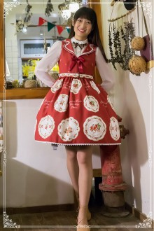 Dark Red Sweet Princess Chiffon Strawberry High Waist Sleeveless Sweet Lolita Puff Dress