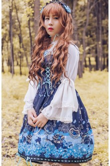 Dark Blue Alice Musical Note Sleeveless High Waist Sweet Lolita JSK Dress