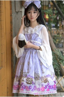 Light Purple Alice Musical Note Sleeveless High Waist Sweet Lolita JSK Dress