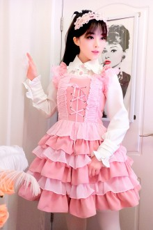 Pink Flouncing Slim Sweet Lolita Cupcake Dress