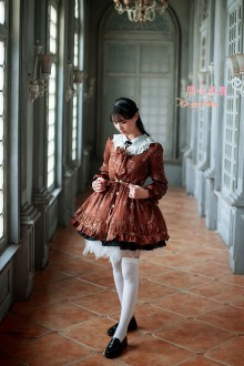 Dark Brown Vintage Lace Round Collar Suede Embroidery Lolita Coat