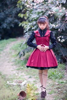 Wine College Style Flouncing Sleeveless Sweet Lolita Dress