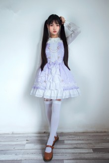 Violet Vintage Slim Dark Lines Sleeveless Sweet Lolita Dress