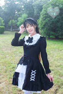 Vintage Slim Long Sleeves Flouncing Doll Collar Sweet Lolita Dress