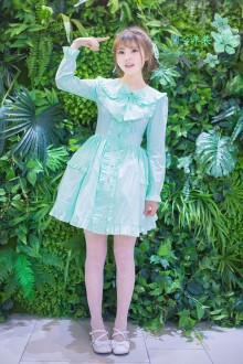Mint Green Elegant Slim Temperament Doll Collar Long Sleeves Sweet Lolita Dress