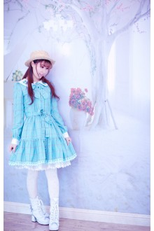 Sweet College Style Lattice Printing Doll Collar Long Sleeves Lolita Dress