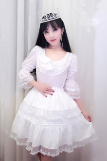 White Lace Half Sleeves Doll Collar Sweet Lolita Dress