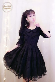 Black Lace Slim Half Sleeves Doll Collar Sweet Lolita Dress