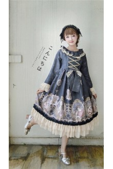 Vintage Lotus Leaf Collar Mermaids Love Puff Sleeves Long Sleeves Sweet Lolita OP Dress