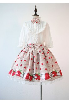 Sweet Strawberry and Cup Printing Lolita Sk
