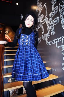 Classic Round Collar Sleeveless Lattice Printing Sweet Lolita Dress 3 Colors