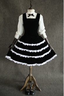 Black Velvet Sweet Lolita Jumper Dress