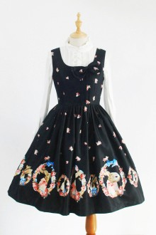 Black Rabbit In the Garland Printing Sweet Lolita Dress