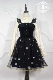 Miss Point Black Vintage Edelweiss Embroidered Sweet Lolita JSK Dress