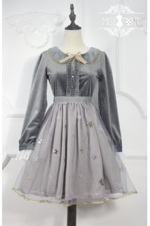 Miss Point Gray Vintage Edelweiss Embroidered Sweet Lolita OP Dress