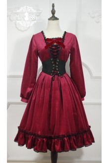 Wine Miss Point Little Red Riding Hood Vintage Fairy Tale Sweet Lolita OP Dress