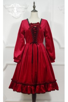Red Miss Point Little Red Riding Hood Vintage Fairy Tale Sweet Lolita OP Dress