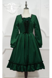 Dark Green Miss Point Little Red Riding Hood Vintage Fairy Tale Sweet Lolita OP Dress