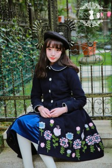 Dark Blue Miss Point Vintage Woolen Embroidery Doll Collar Sweet Lolita Coat