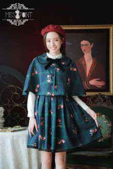 Dark Green Miss Point Miss Bern Vintage Plaid Embroidery College Style Sweet Lolita Dress (Cloak included)