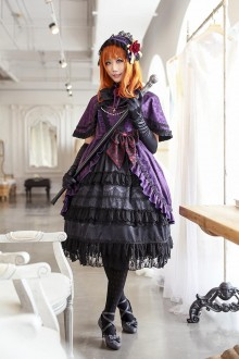 Purple Neverland Beatrice Sea Cat Crying Sweet Lolita JSK (Cloak included)