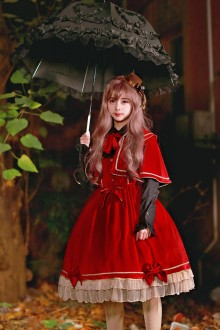 Red Neverland Holy Night Blessing Sweet Lolita JSK (Cloak included)