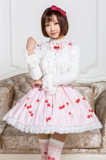 Pink Cherry Printing Lace Sweet Lolita Skirt