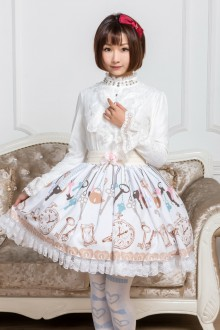 White Key Printing Lace Sweet Lolita Skirt