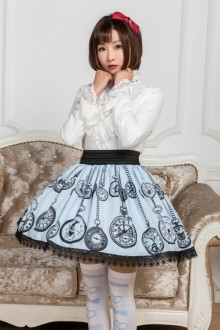 Light Blue Pocket Watch Printing Lace Sweet Lolita Skirt