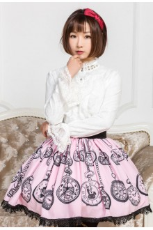 Pink Pocket Watch Printing Lace Sweet Lolita Skirt