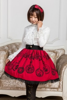 Red Pocket Watch Printing Lace Sweet Lolita Skirt