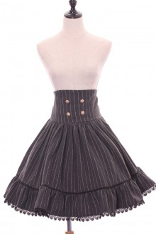 Dark Gray High Waist Stripe Printing Sweet Lolita Skirt