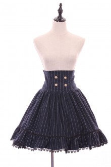 Dark Blue High Waist Stripe Printing Sweet Lolita Skirt