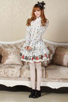 Light Blue Christmas Lucky Star Printing Sweet Lolita Dress