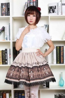 Brown Vintage Cross Printing Sweet Lolita Skirt