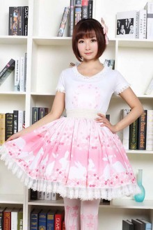 Pink Sakura Rabbit Printing Lace Sweet Lolita Skirt
