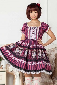 Purple Alice Printing High Waist Sweet Lolita Dress