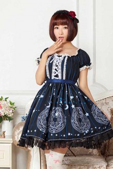 Navy Blue Magic Array Printing High Waist Sweet Lolita Dress