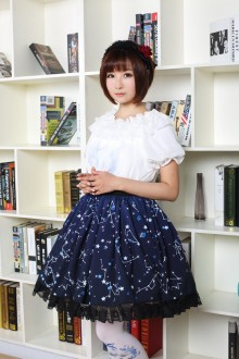 Night Constellation Printing High Waist Sweet Lolita Skirt