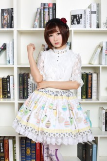 Apricot Easter Egg and Rabbit Printing Sweet Lolita Skirt